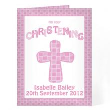 Christening Cross Card-Pink